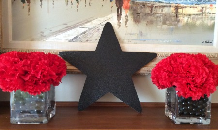 Centerpieces were dollar store carnations sitting on black glitter stars