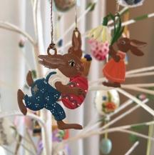 German pewter egg tree ornaments