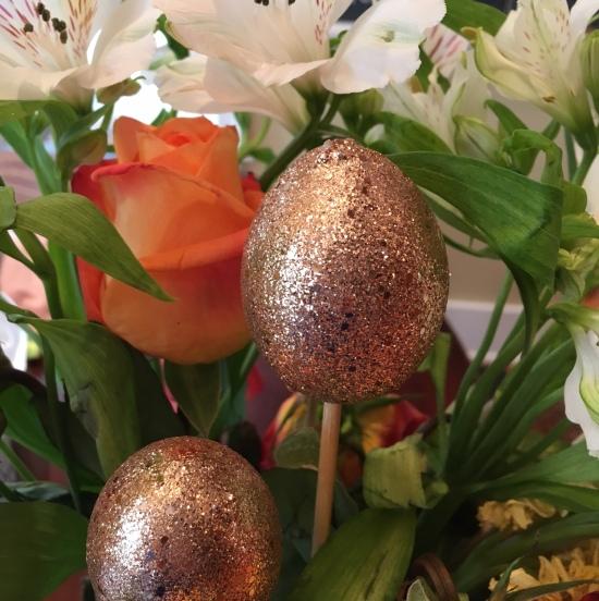 Golden eggs on skewers